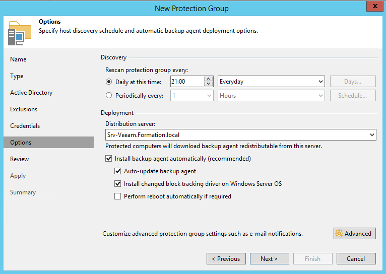 Configure option of protection group.