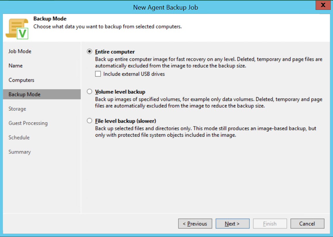 Select Backup mode on Veeam