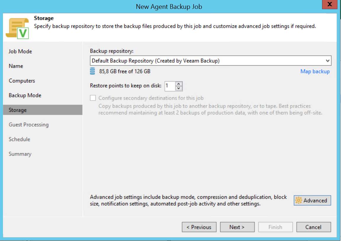 Choose backup repository