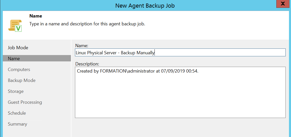 Enter the name of the Veeam Job