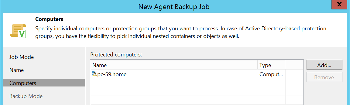 Add computer or server that you want backup with Veeam