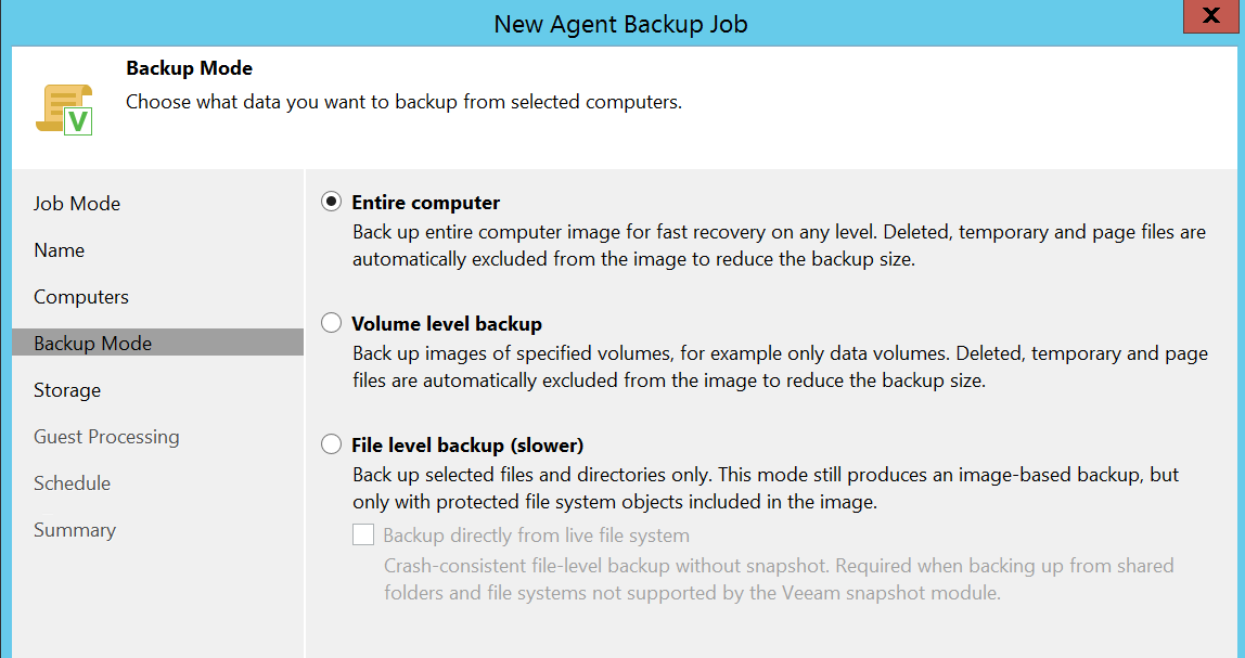 Select the desired Backup mode option