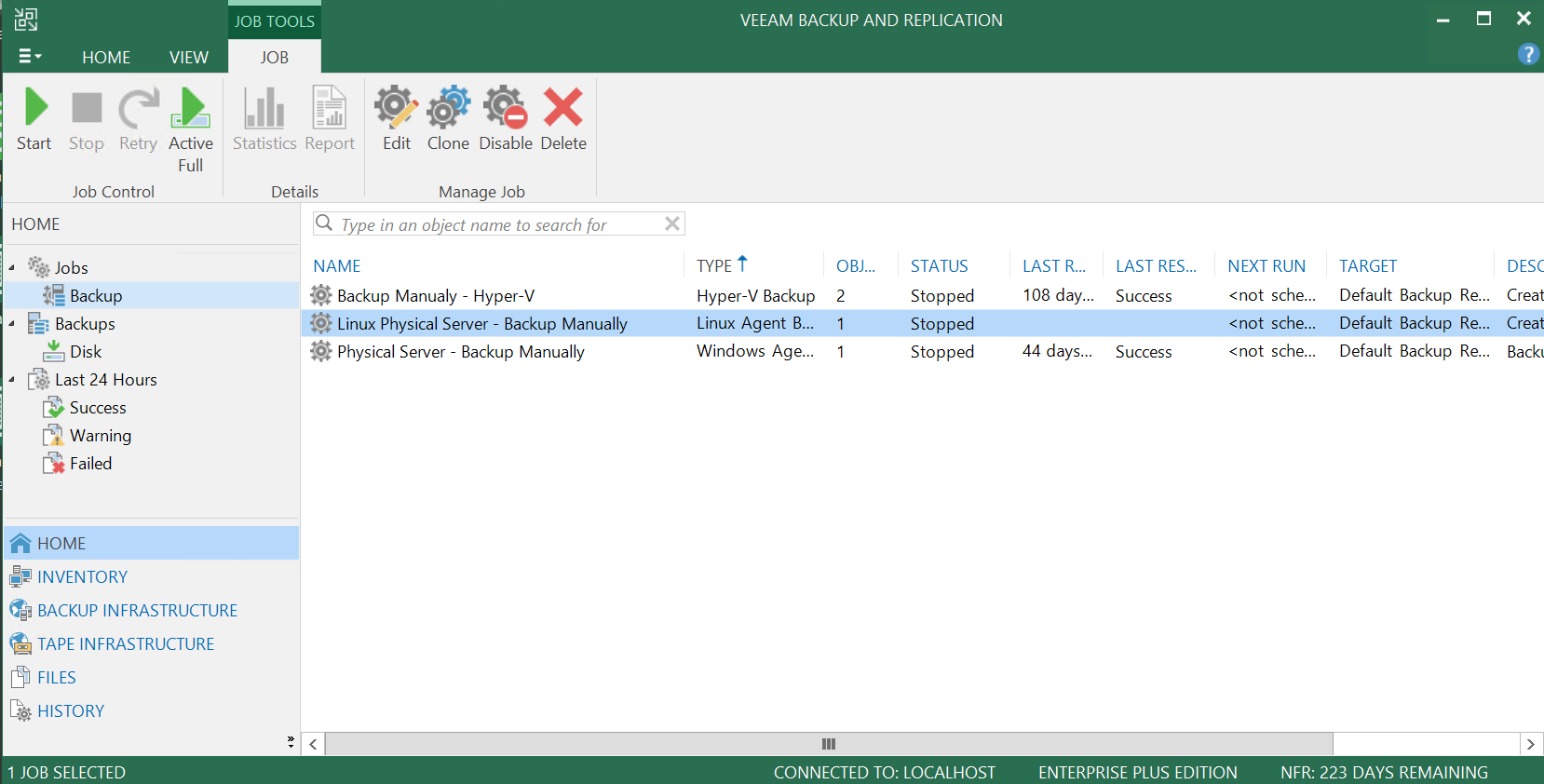 Finish the creation of the Veeam backup job.