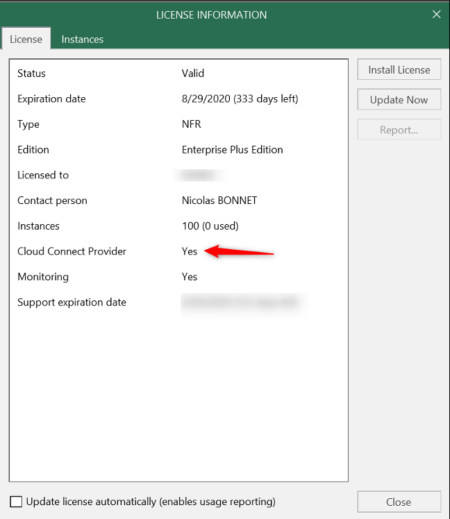 Licence has been added Cloud Connect for Enterprise