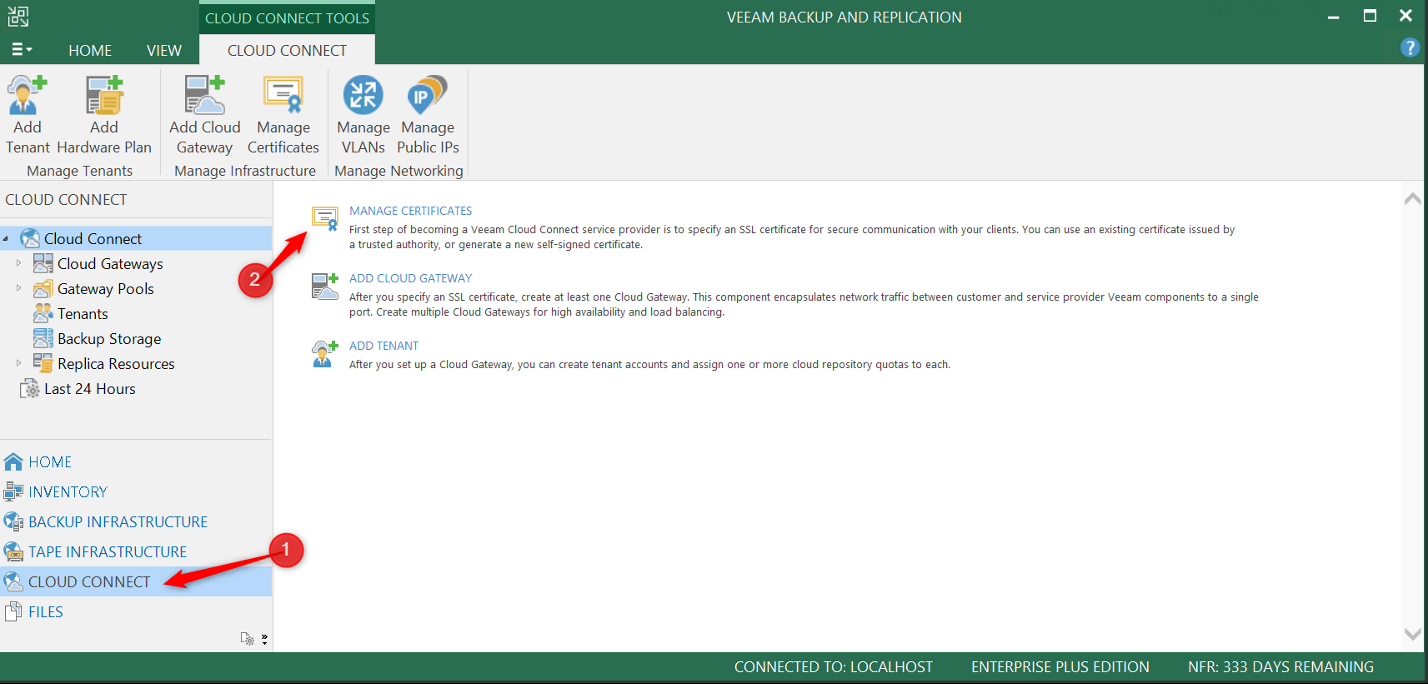 Manage certificate from the Veeam console