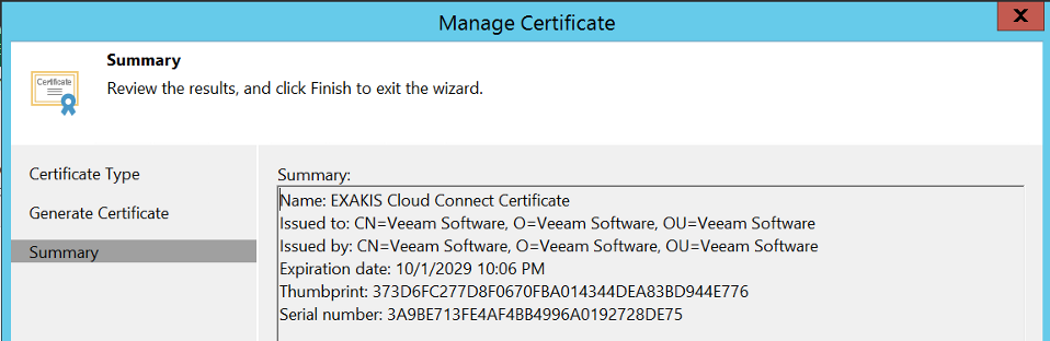 Certificate has been generated