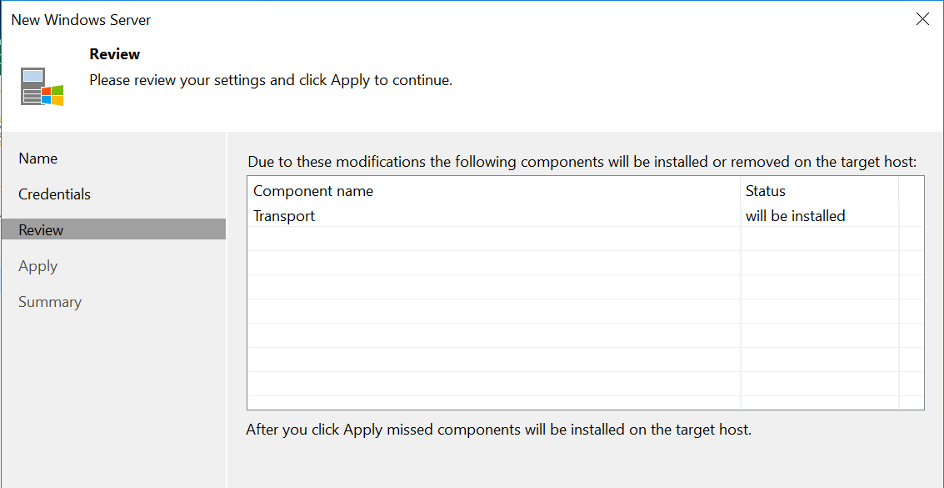 Apply for install Veeam components