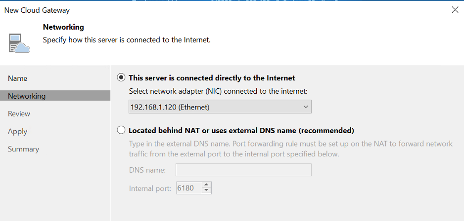 Configure the network for the Veeam Cloud Gateway.