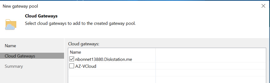 Select the Cloud Gateways that you want