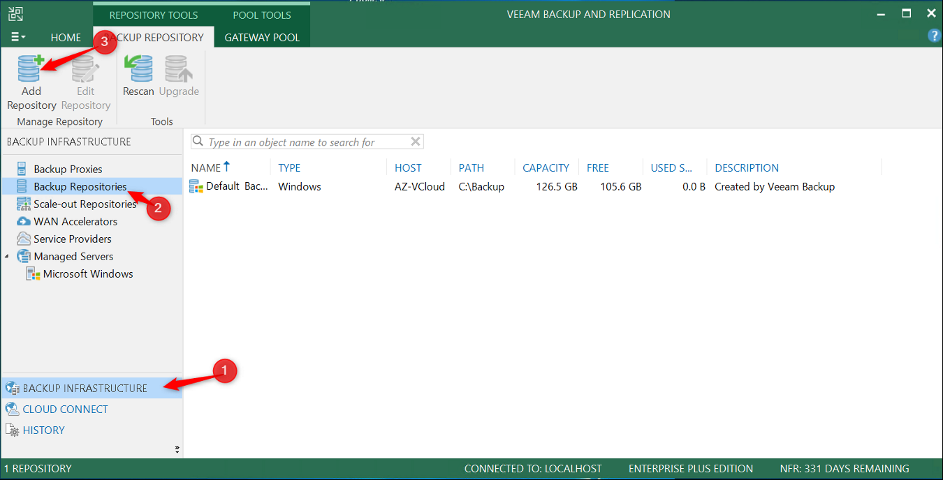 Add Cloud Repository on Veeam Console
