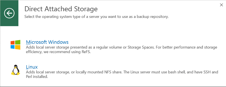 Select the operating system of the server