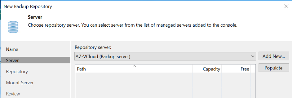 Select the repositorues server