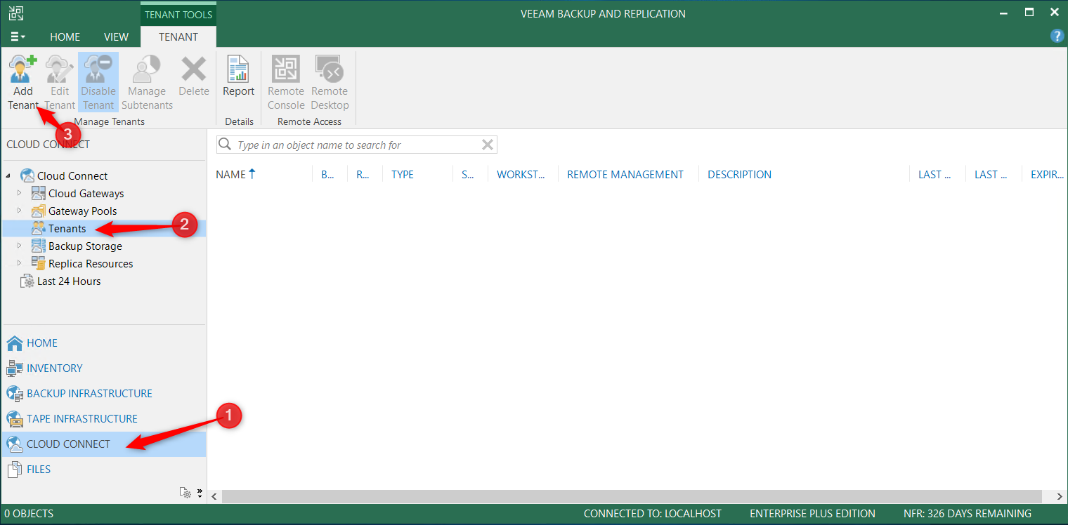 Add tenant from Veeam console