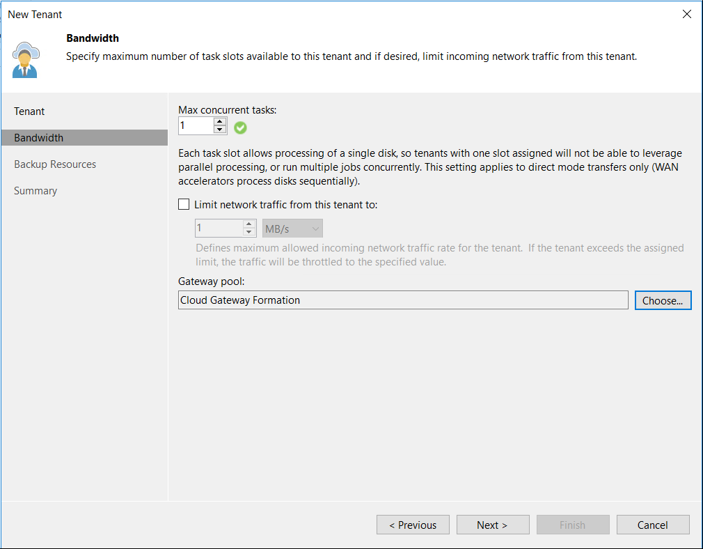 Configure Max concurrent tasks and Gateway Pool.