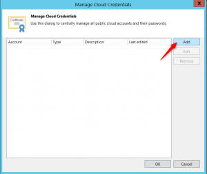 Add username and password for connect to the Veeam Cloud Connect