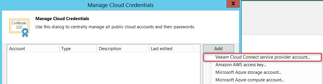 Enter information for connect to Veeam Cloud Connect service provider account