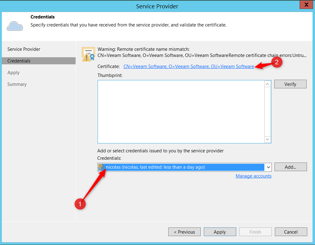 Enter credential and select certificate Cloud Connect for Enterprise