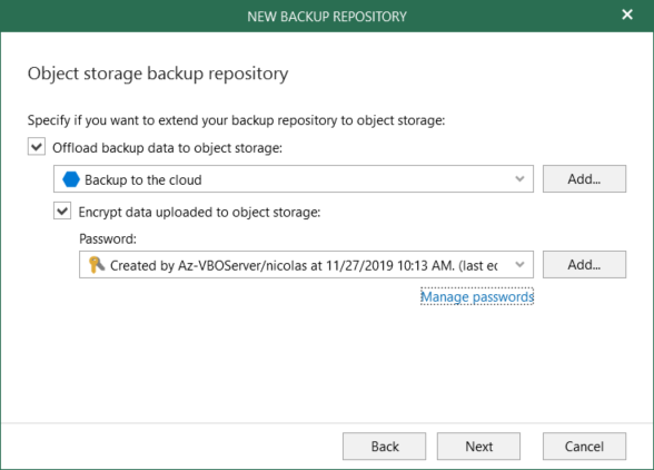 Configure Object storage backup repository