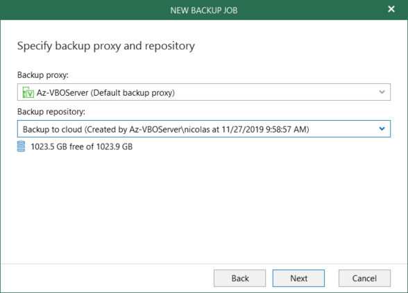 Create or modify backup job for Veeam for O365 4.0