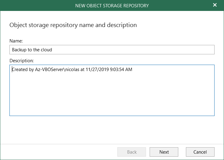 Enter the name of the Object storage repositories