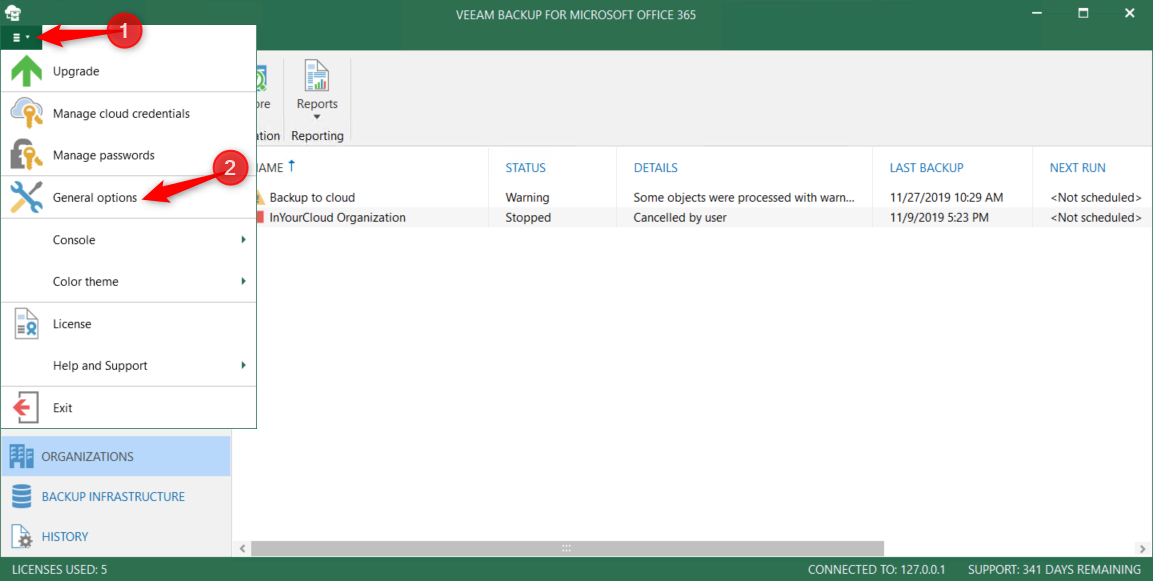 Open General option Veeam for O365 4.0