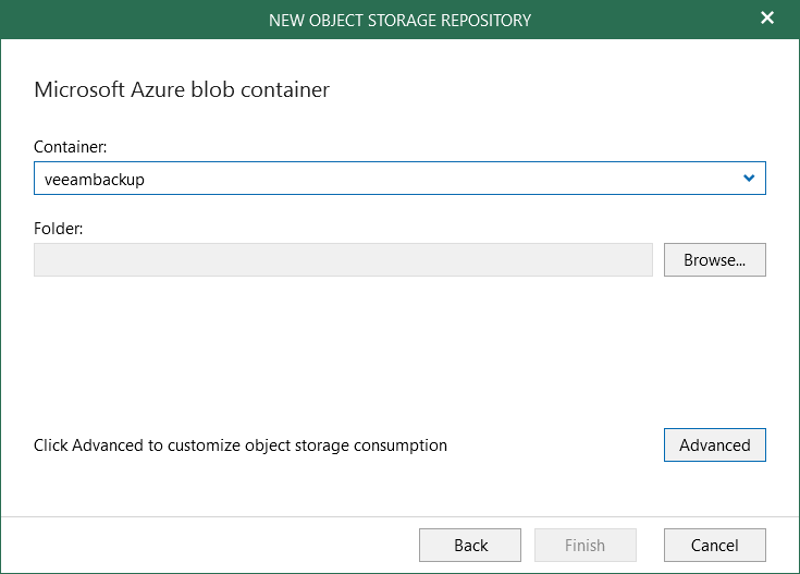 Select container Veeam for O365 4.0