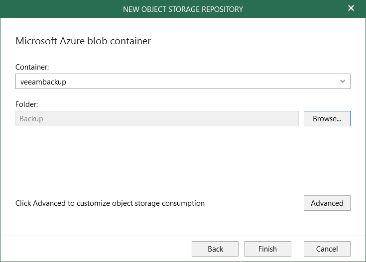 Create folder on container Veeam for O365 4.0