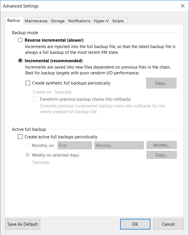 Configure backup mode