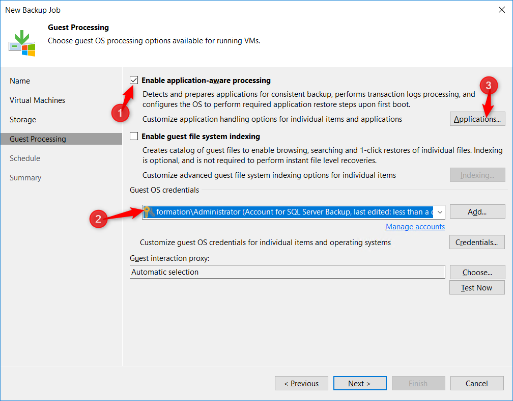 Configure Enable application-aware processing