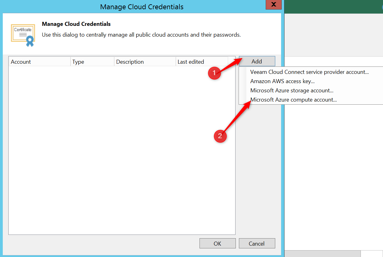 Manage Cloud credential on Veeam console