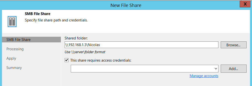 Backup Nas - Enter shared folder