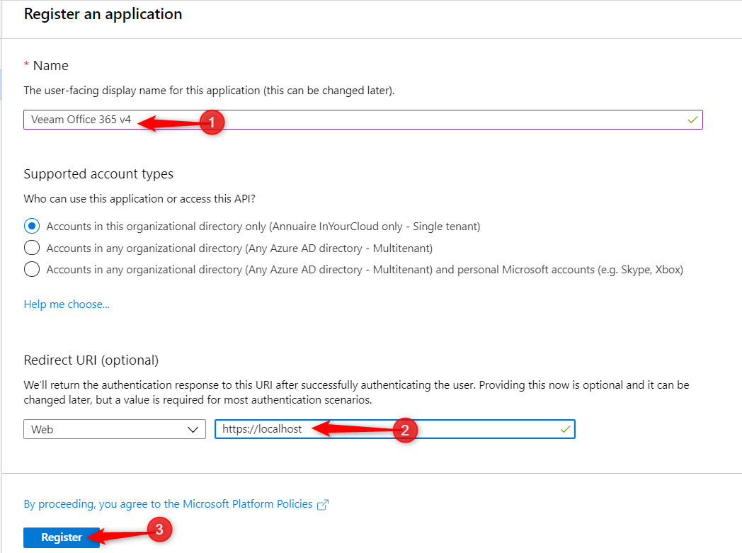 Create App registration for VBO Modern Authentification on Veeam Office 365.
