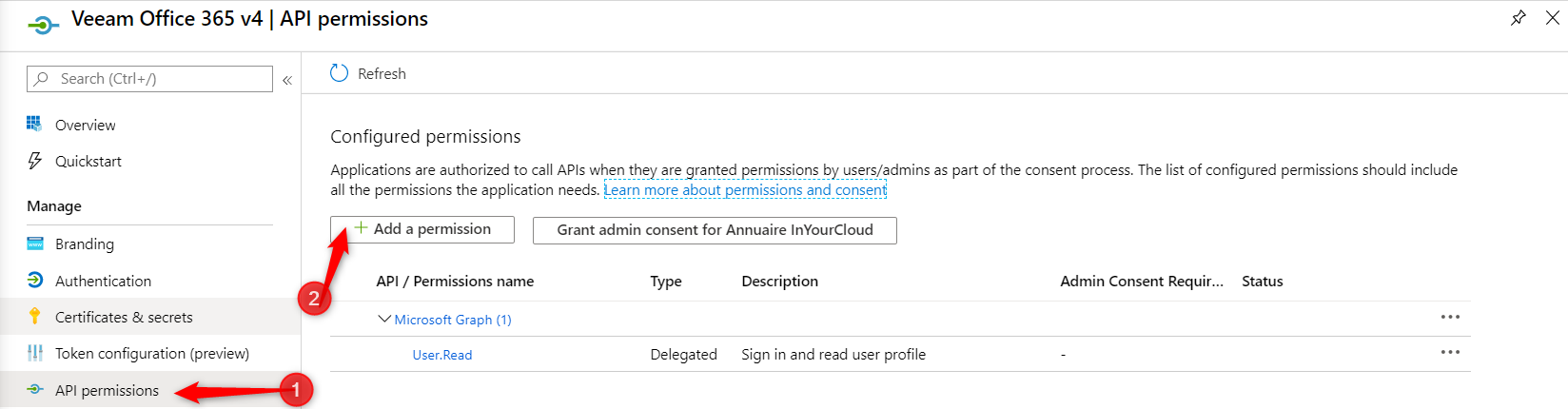 Configure required permissions Modern Authentification on Veeam