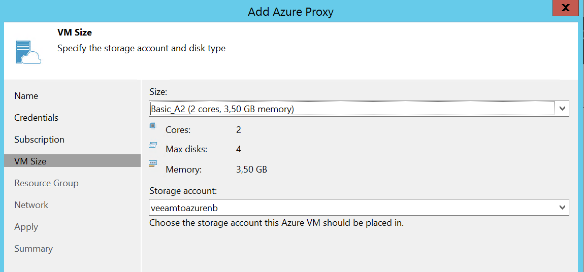 Select VM size and storage account