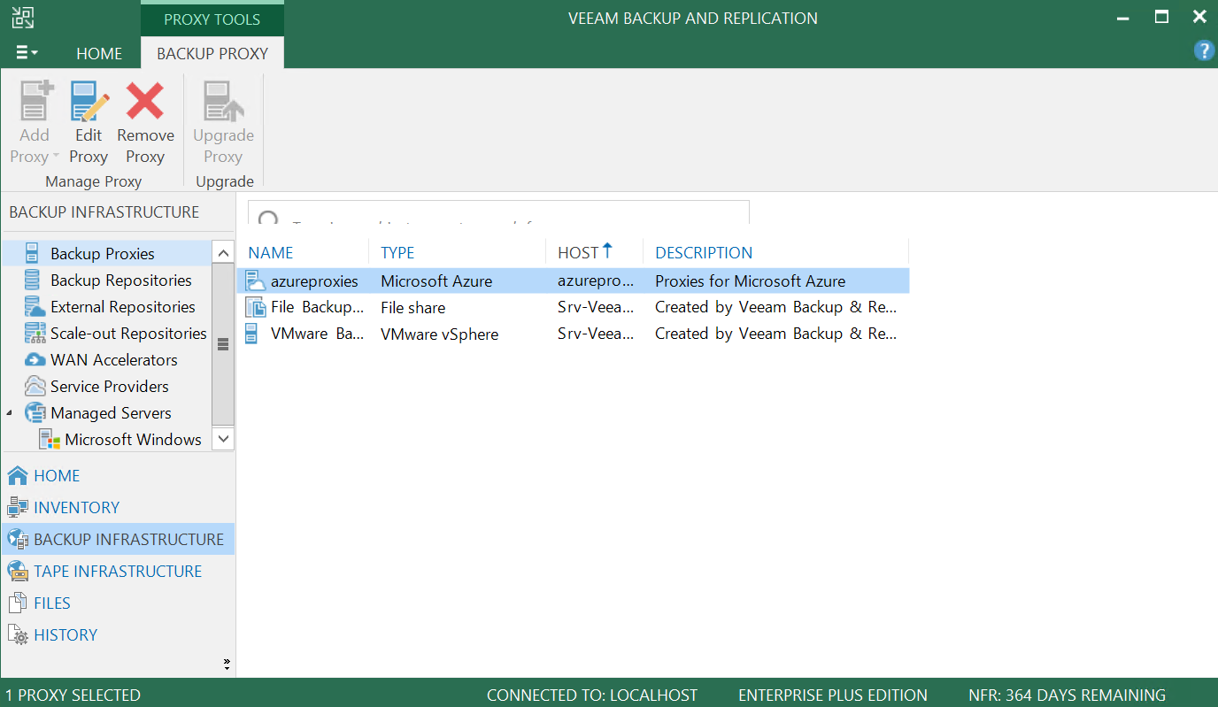 Veeam Proxies has been present in the Veeam Console