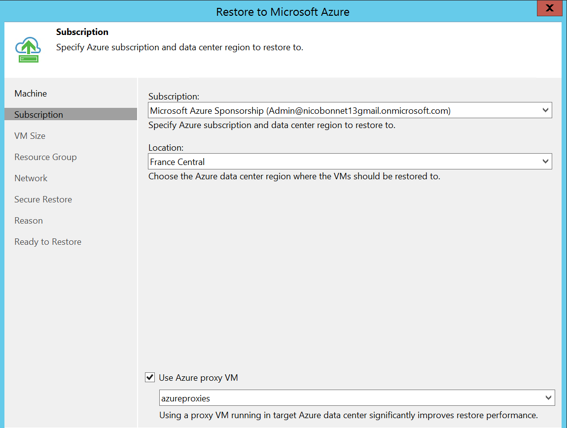 Select location and subscription Azure